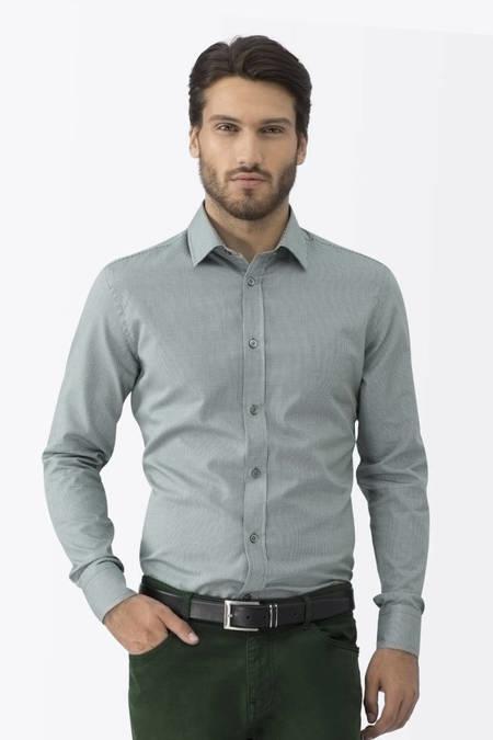 Kareli Koyu Yeşil Business Gömlek