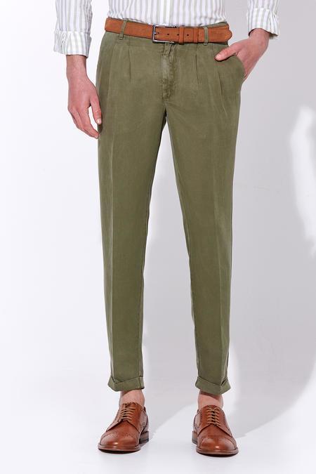 Pileli Keten Koyu Yeşil Pantolon