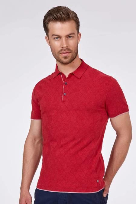 Desenli Kırmızı Triko Polo T-Shirt