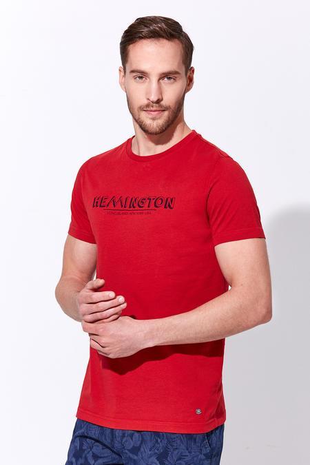 Kırmızı Baskılı Bisiklet Yaka T-Shirt