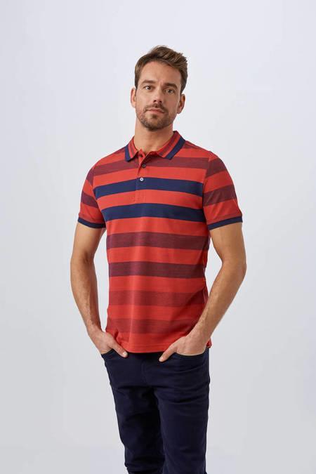 Kırmızı Çizgili Polo Yaka T-Shirt