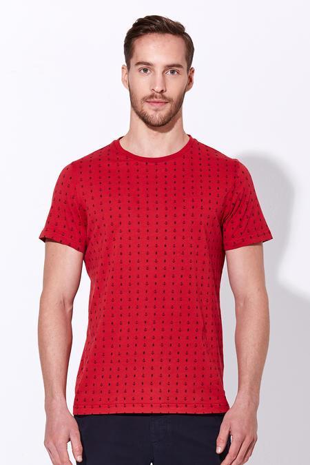 Kırmızı Baskılı Pamuk T-Shirt