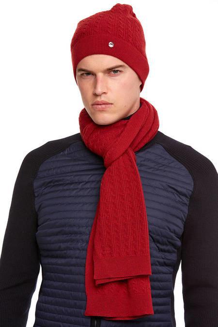 Kırmızı Lambswool Yün Saç Örgü Bere