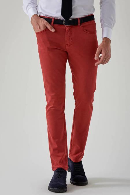 Kırmızı Slim Fit 5 Cep Chino Pantolon
