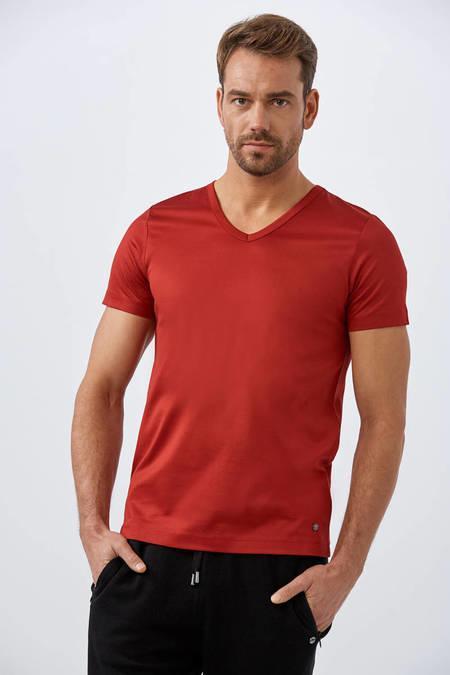 Kırmızı V Yaka Basic T-Shirt