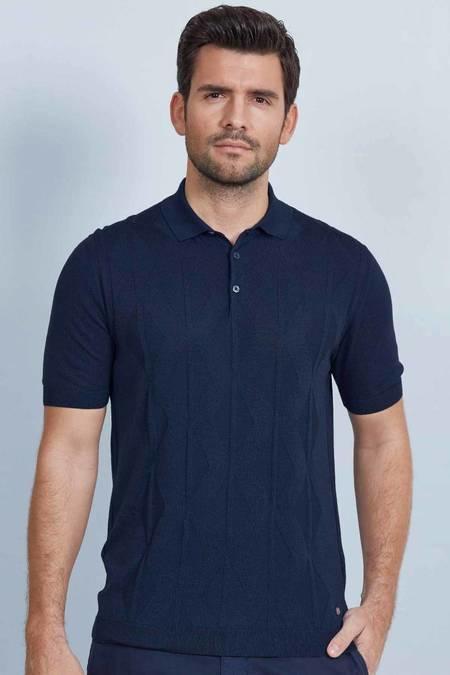 Lacivert İpek Triko Polo T-Shirt