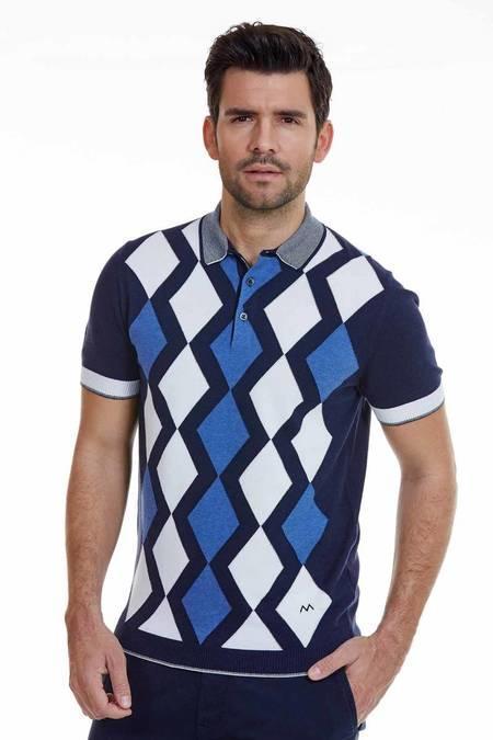 Baklava Desenli Lacivert Triko Polo T-Shirt