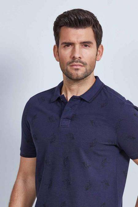 Lacivert Desenli Polo Yaka T-Shirt