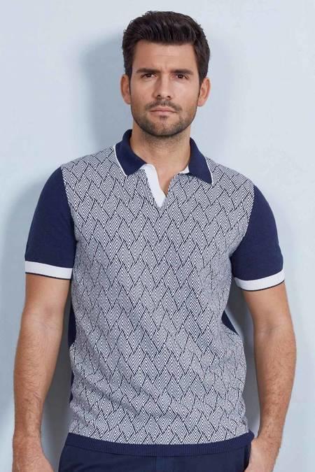 Lacivert Desenli Triko Polo T-Shirt