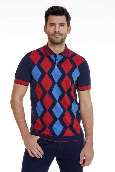 Baklava Desenli Lacivert Kırmızı Triko Polo T-Shirt