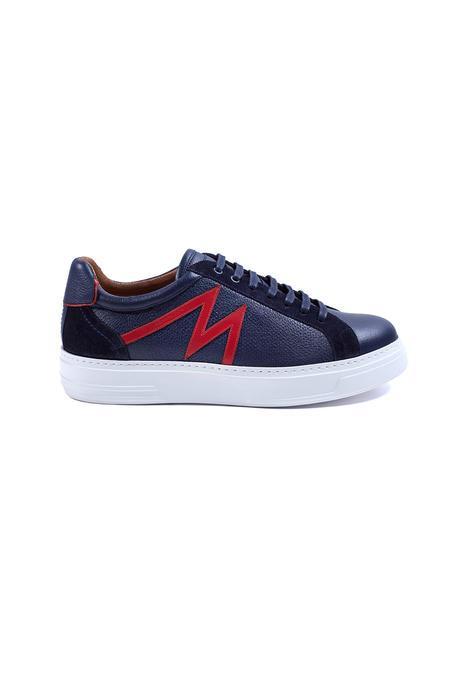 Lacivert M Logolu Yazlık Deri Sneakers