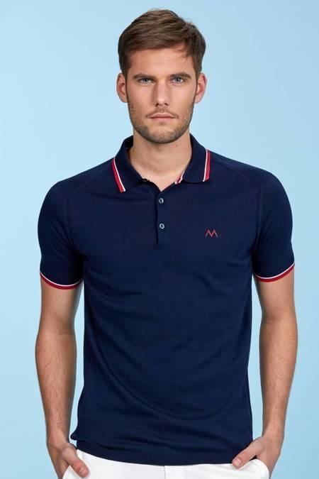 Lacivert Giza Pamuk Düğmeli Triko Polo T-Shirt