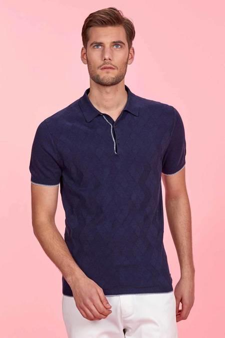 Desenli Lacivert Triko Polo T-Shirt
