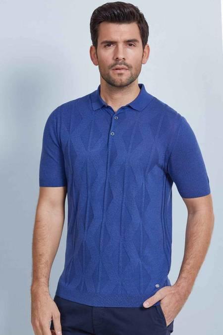 Mavi İpek Triko Polo T-Shirt