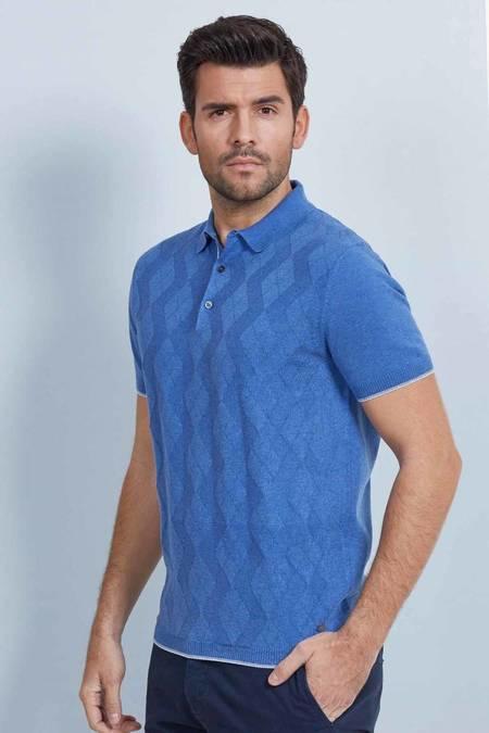 Desenli Mavi Triko Polo T-Shirt