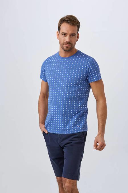 Mavi Baskılı Pamuk T-Shirt