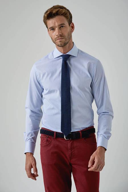 Mavi Beyaz Küçük Kareli Business Gömlek