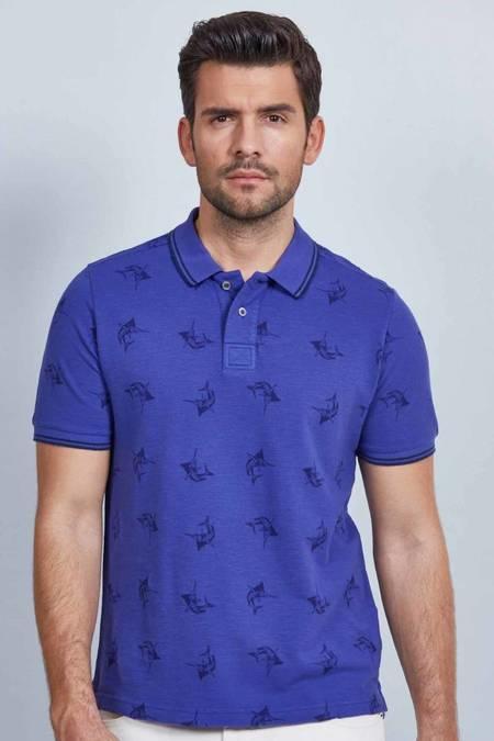 Mavi Desenli Polo Yaka T-Shirt