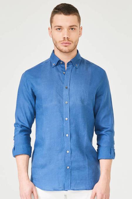 Mavi Keten Spor Gömlek