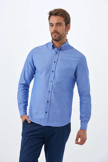 Mavi Oxford Spor Gömlek
