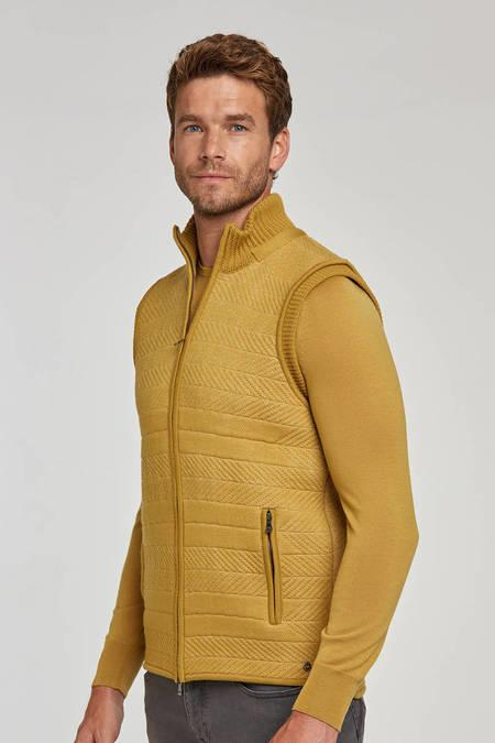 Merino Yün Sarı Activewear Triko Yelek