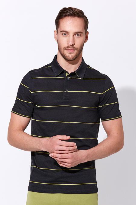 Çizgili Antrasit Merserize Pamuk Polo Yaka T-Shirt