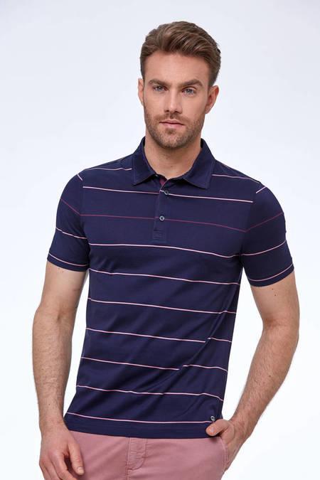 Çizgili Lacivert Merserize Pamuk Polo Yaka T-Shirt