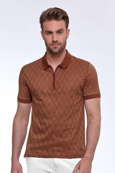 Fermuarlı Kiremit Rengi Merserize Pamuk Polo Yaka T-Shirt
