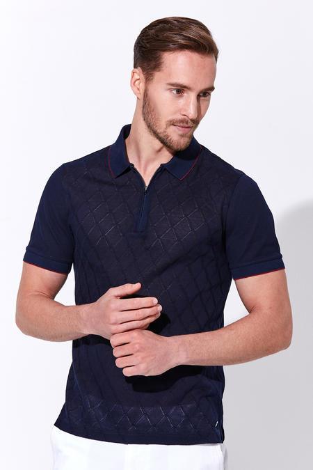 Fermuarlı Lacivert Merserize Pamuk Polo Yaka T-Shirt