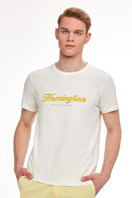 Nakış Logolu Beyaz Bisiklet Yaka T-shirt