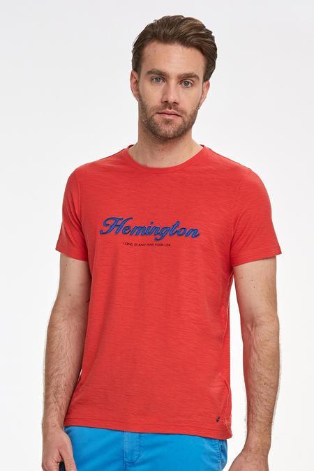 Nakış Logolu Kırmızı Bisiklet Yaka T-shirt