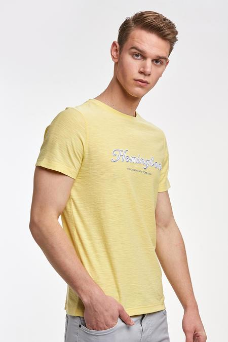 Nakış Logolu Sarı Bisiklet Yaka T-shirt