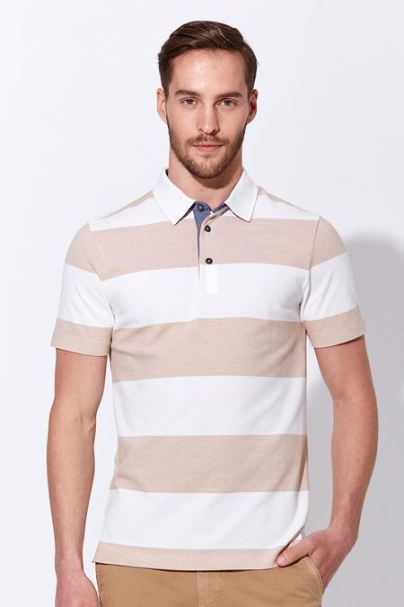 Çizgili Kırık Beyaz Polo Yaka T-Shirt