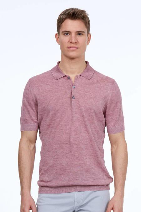 Pembe Keten Triko Polo T-Shirt