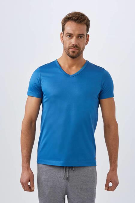 Petrol V Yaka Basic T-Shirt