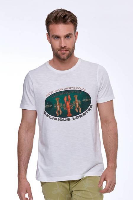 Baskılı Beyaz Pamuk T-Shirt