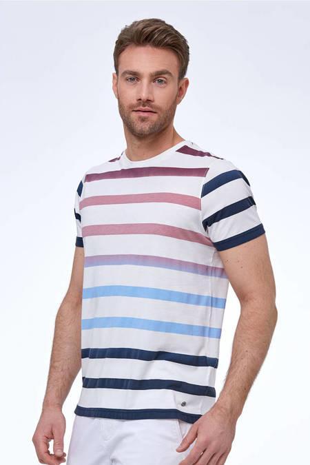 Pima Pamuk Beyaz Lacivert Çizgili T-Shirt