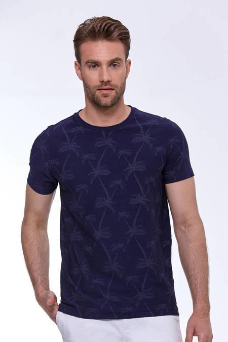 Baskılı Pima Pamuk Lacivert T-Shirt