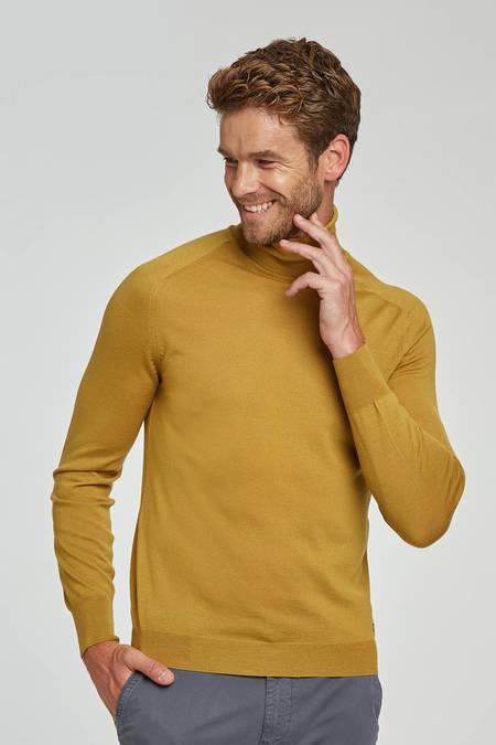 Boğazlı Slim Fit Merino Sarı Yün Triko