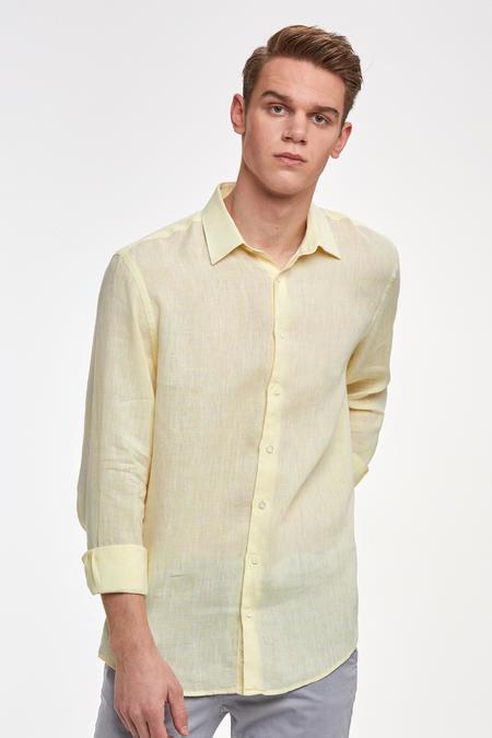 Sarı Saf Keten Gömlek