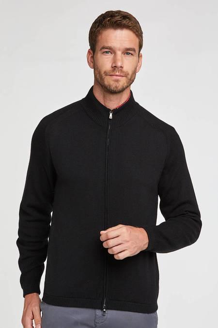 Fermuarlı Merino Yün Siyah Activewear Hırka