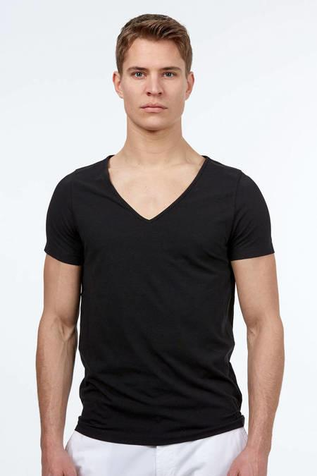 Derin V Yaka Siyah İnce Pamuk T-Shirt