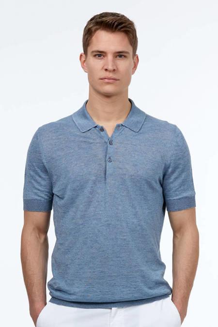 Mavi Keten Triko Polo T-Shirt