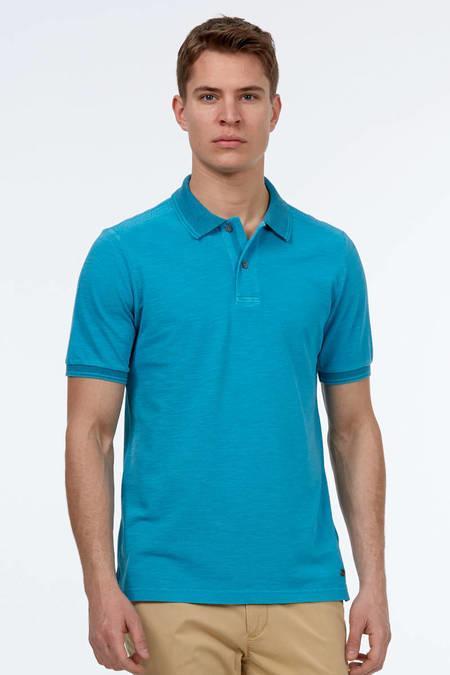 Turkuaz Vintage Polo Yaka T-Shirt
