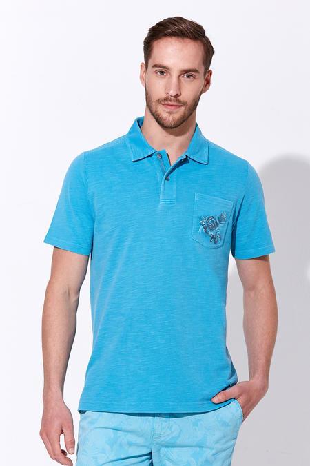 Turkuaz Vintage Cepli Polo Yaka T-Shirt