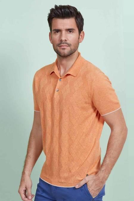 Desenli Turuncu Triko Polo T-Shirt