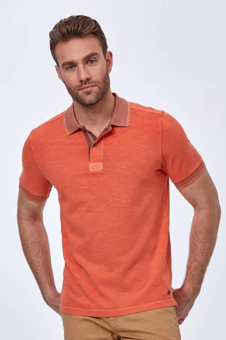 Turuncu Vintage Görünüm Polo Yaka T-Shirt