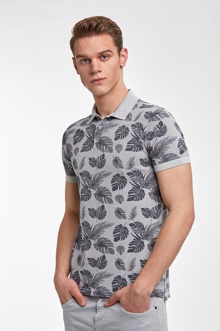 Yaprak Desenli Pike Örgü Gri Polo T-Shirt