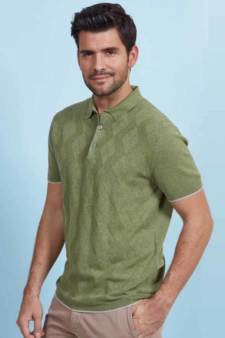 Desenli Yeşil Triko Polo T-Shirt