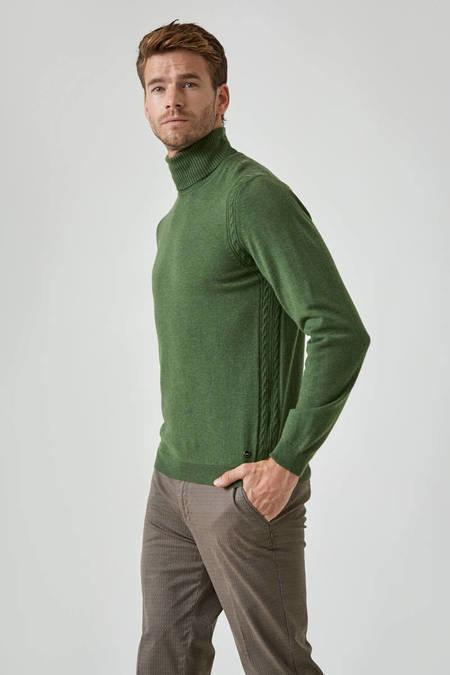 Yeşil Boğazlı Lambswool Yün Kazak